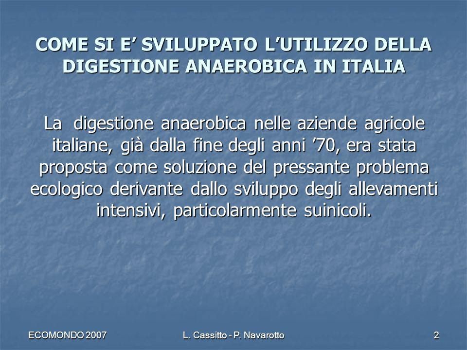 ECOMONDO 2007L. Cassitto - P. Navarotto2 COME SI E SVILUPPATO LUTILIZZO DELLA DIGESTIONE ANAEROBICA IN ITALIA La digestione anaerobica nelle aziende a