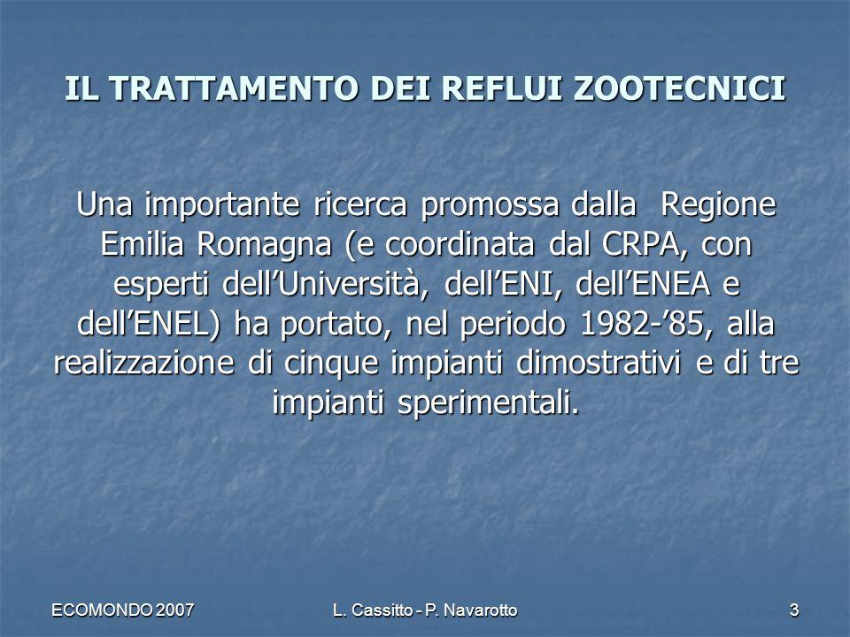 ECOMONDO 2007L. Cassitto - P. Navarotto3 Una importante ricerca promossa dalla Regione Emilia Romagna (e coordinata dal CRPA, con esperti dellUniversi