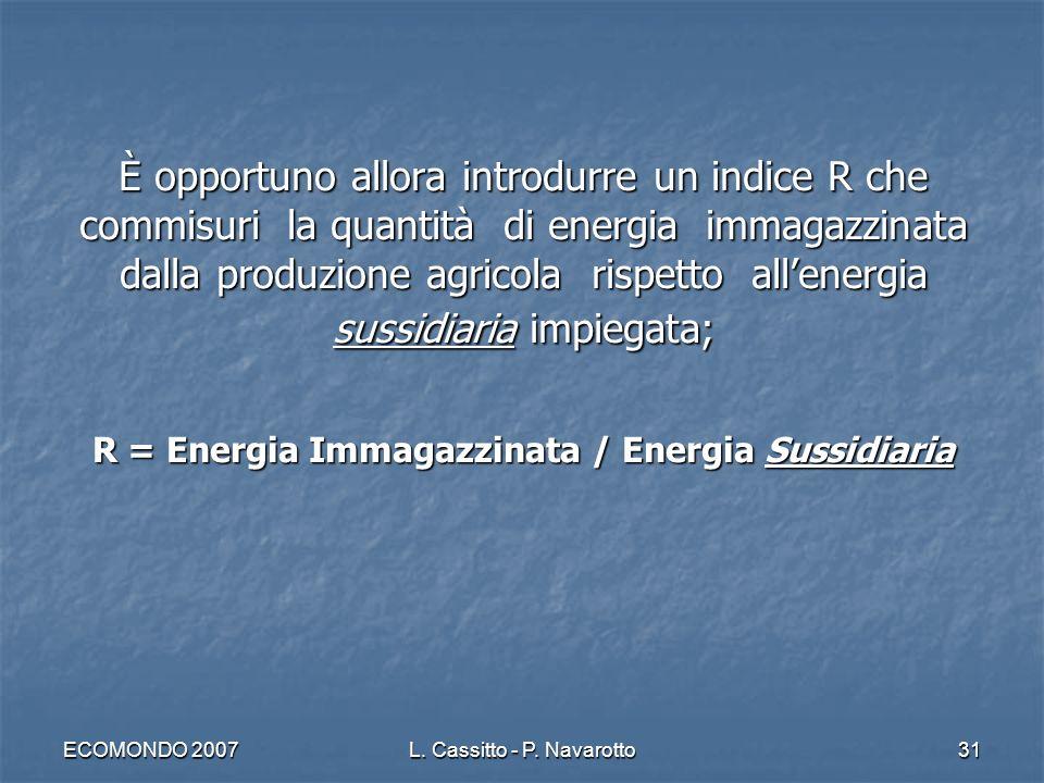 ECOMONDO 2007L. Cassitto - P. Navarotto31 È opportuno allora introdurre un indice R che commisuri la quantità di energia immagazzinata dalla produzion