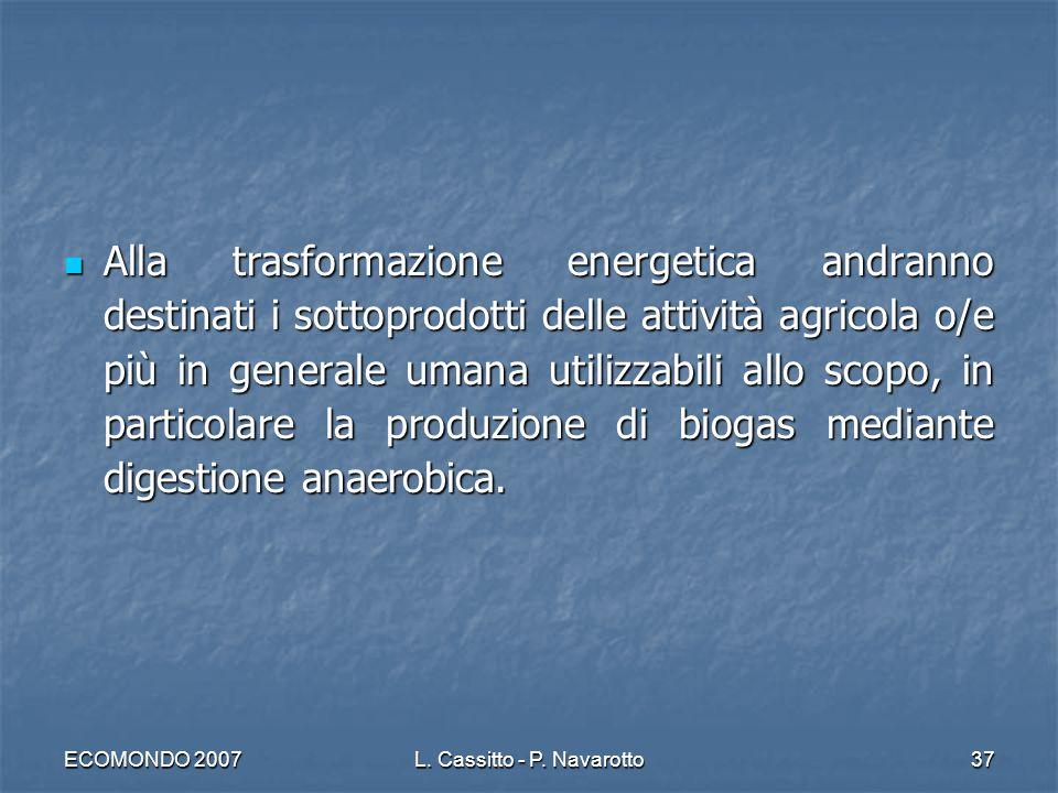 ECOMONDO 2007L. Cassitto - P. Navarotto37 Alla trasformazione energetica andranno destinati i sottoprodotti delle attività agricola o/e più in general