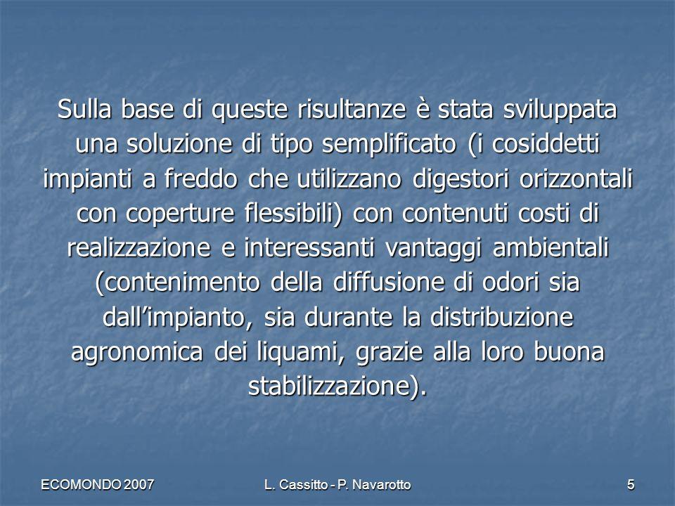 ECOMONDO 2007L. Cassitto - P. Navarotto5 Sulla base di queste risultanze è stata sviluppata una soluzione di tipo semplificato (i cosiddetti impianti
