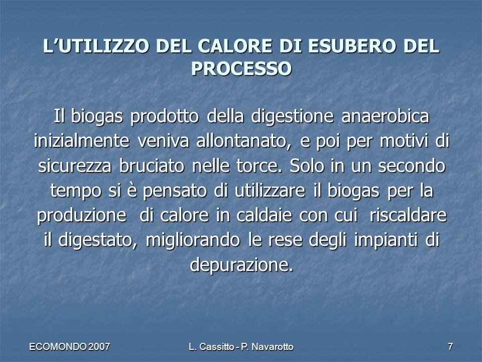ECOMONDO 2007L. Cassitto - P. Navarotto7 Il biogas prodotto della digestione anaerobica inizialmente veniva allontanato, e poi per motivi di sicurezza