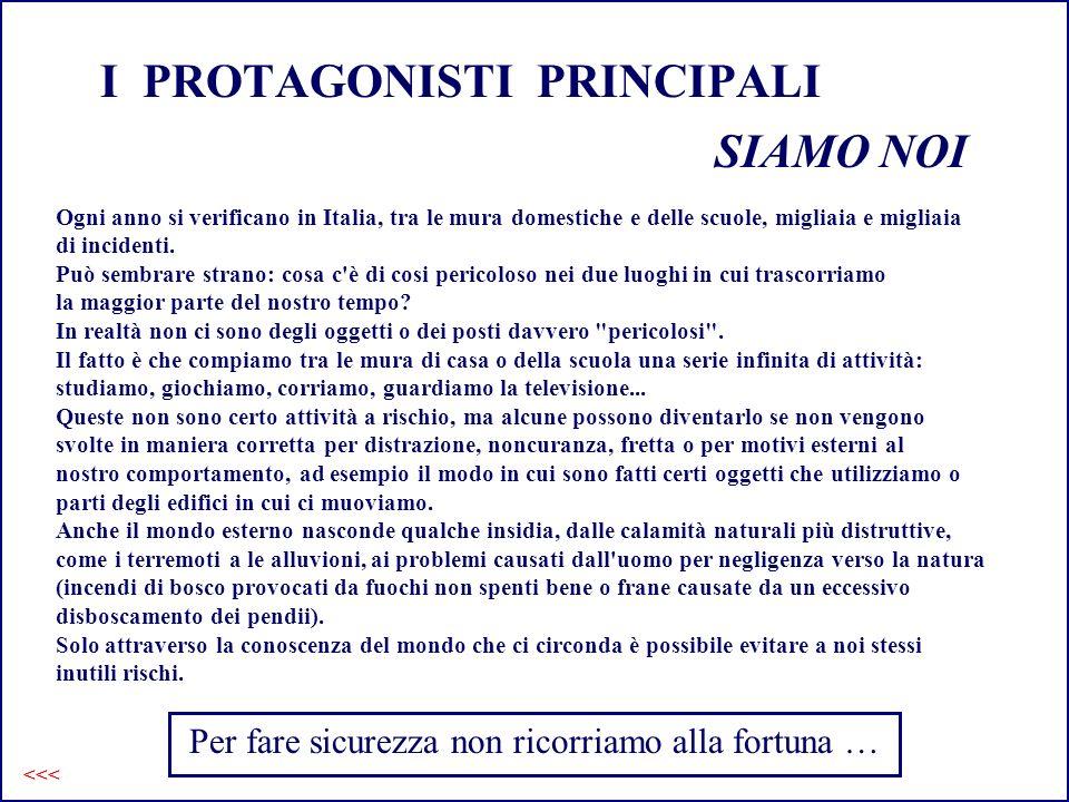 I PROTAGONISTI PRINCIPALI SIAMO NOI Ogni anno si verificano in Italia, tra le mura domestiche e delle scuole, migliaia e migliaia di incidenti. Può se