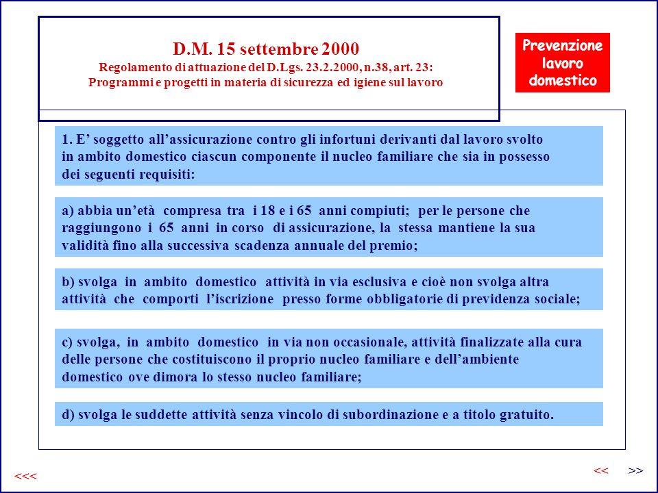 D.M. 15 settembre 2000 Regolamento di attuazione del D.Lgs. 23.2.2000, n.38, art. 23: Programmi e progetti in materia di sicurezza ed igiene sul lavor