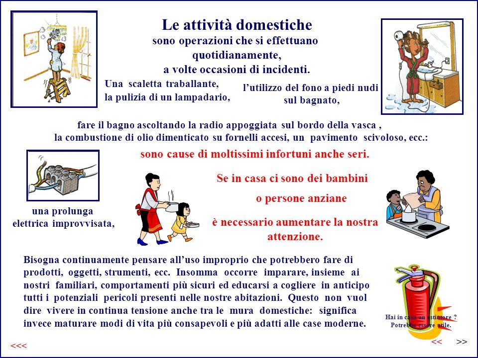 Le attività domestiche sono operazioni che si effettuano quotidianamente, a volte occasioni di incidenti. Bisogna continuamente pensare alluso impropr