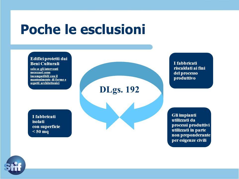 Poche le esclusioni DLgs. 192 Edifici protetti dai Beni Culturali solo se gli interventi necessari sono incompatibili con il mantenimento di forme e a