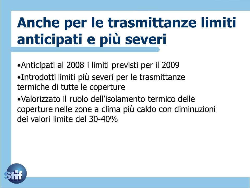 Anche per le trasmittanze limiti anticipati e più severi Anticipati al 2008 i limiti previsti per il 2009 Introdotti limiti più severi per le trasmitt