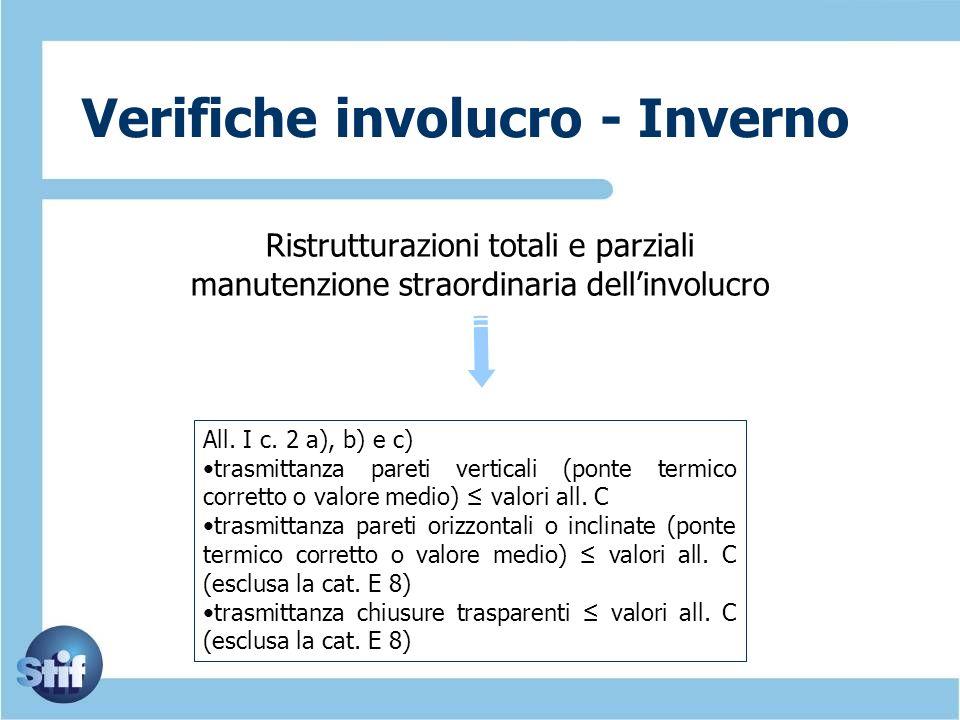 Verifiche involucro - Inverno Ristrutturazioni totali e parziali manutenzione straordinaria dellinvolucro All. I c. 2 a), b) e c) trasmittanza pareti
