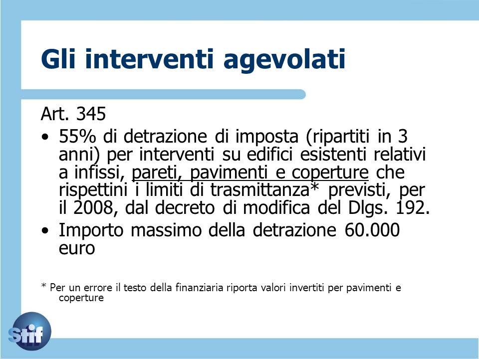 Gli interventi agevolati Art. 345 55% di detrazione di imposta (ripartiti in 3 anni) per interventi su edifici esistenti relativi a infissi, pareti, p
