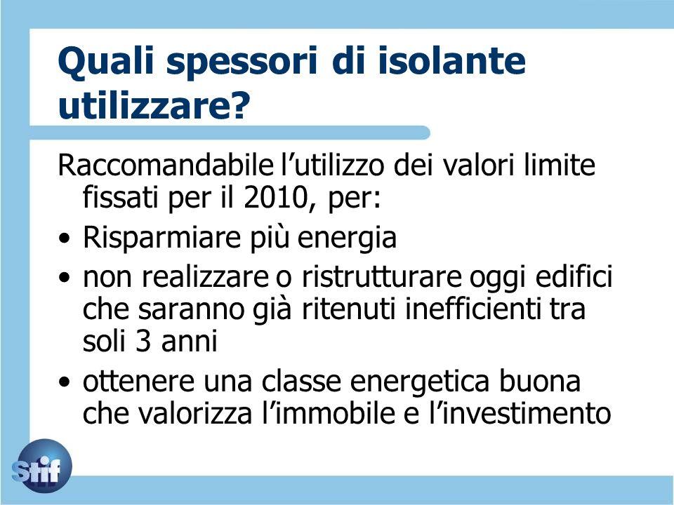 Quali spessori di isolante utilizzare? Raccomandabile lutilizzo dei valori limite fissati per il 2010, per: Risparmiare più energia non realizzare o r