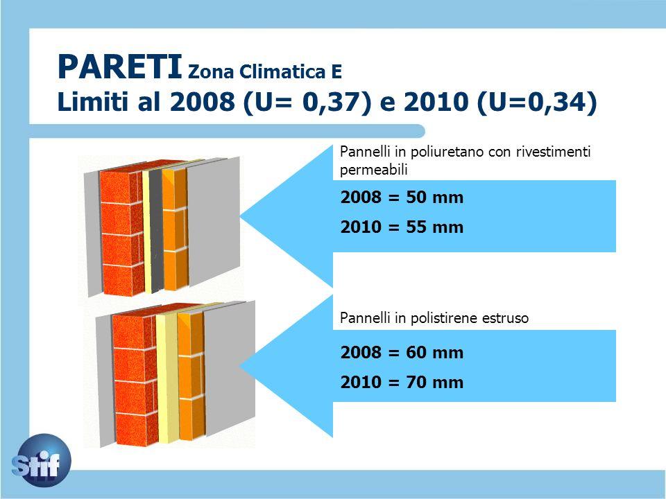 PARETI Zona Climatica E Limiti al 2008 (U= 0,37) e 2010 (U=0,34) 2008 = 50 mm 2010 = 55 mm 2008 = 60 mm 2010 = 70 mm Pannelli in poliuretano con rives