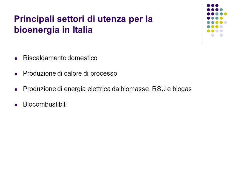 Principali settori di utenza per la bioenergia in Italia Riscaldamento domestico Produzione di calore di processo Produzione di energia elettrica da b