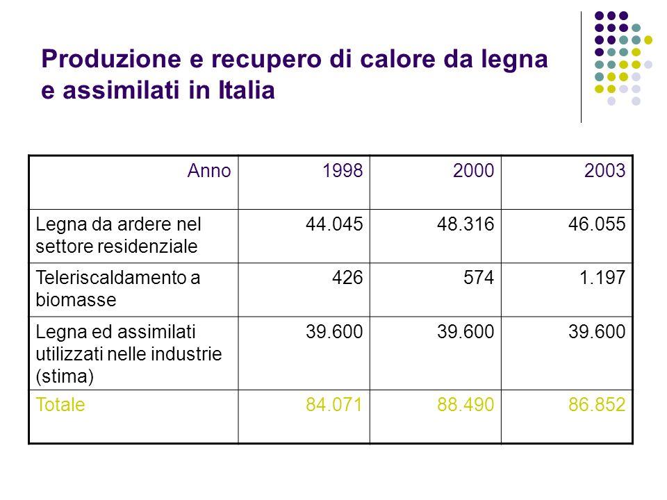 Produzione e recupero di calore da legna e assimilati in Italia Anno199820002003 Legna da ardere nel settore residenziale 44.04548.31646.055 Telerisca