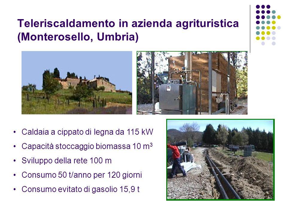 Teleriscaldamento in azienda agrituristica (Monterosello, Umbria) Caldaia a cippato di legna da 115 kW Capacità stoccaggio biomassa 10 m 3 Sviluppo de