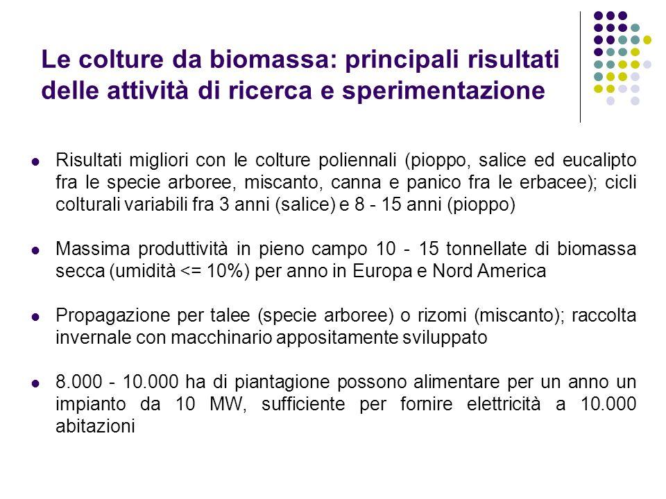 Le colture da biomassa: principali risultati delle attività di ricerca e sperimentazione Risultati migliori con le colture poliennali (pioppo, salice