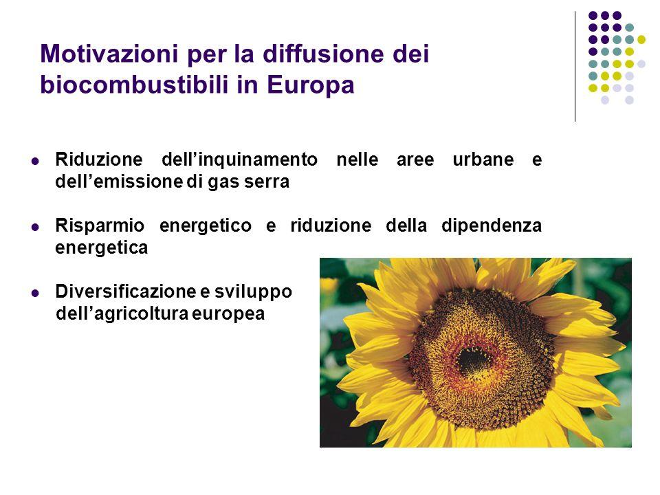 Motivazioni per la diffusione dei biocombustibili in Europa Riduzione dellinquinamento nelle aree urbane e dellemissione di gas serra Risparmio energe