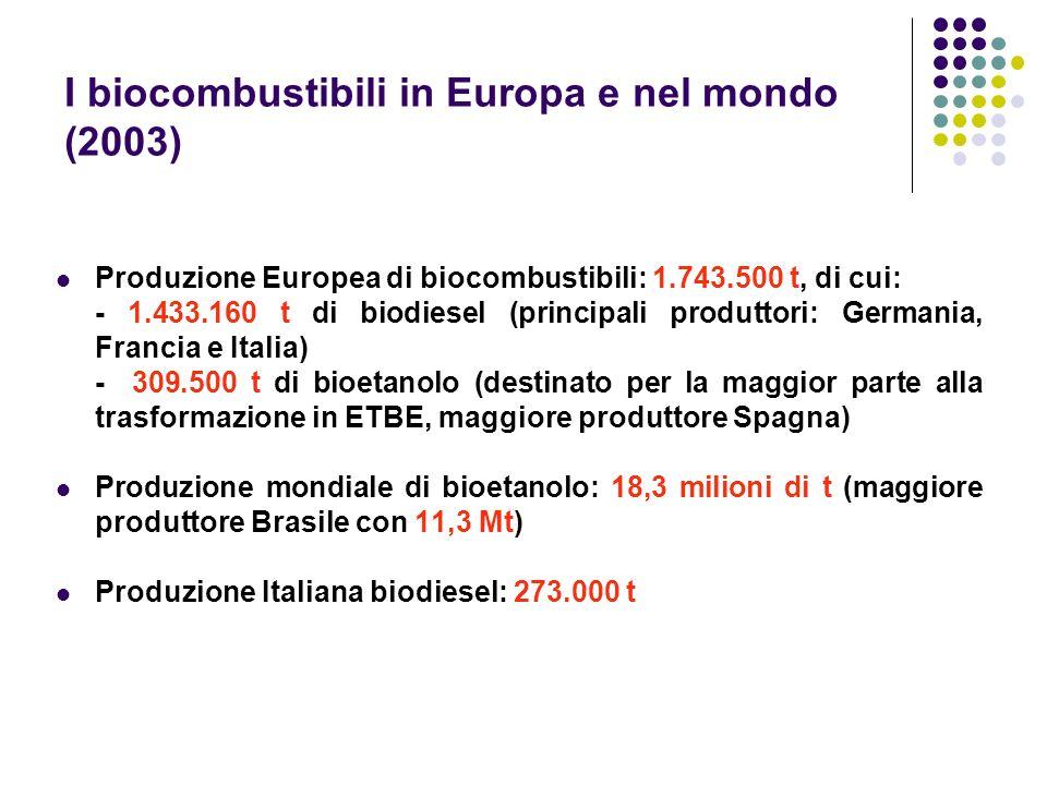 I biocombustibili in Europa e nel mondo (2003) Produzione Europea di biocombustibili: 1.743.500 t, di cui: - 1.433.160 t di biodiesel (principali prod