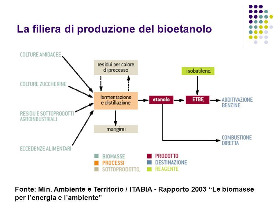 La filiera di produzione del bioetanolo Fonte: Min. Ambiente e Territorio / ITABIA - Rapporto 2003 Le biomasse per lenergia e lambiente