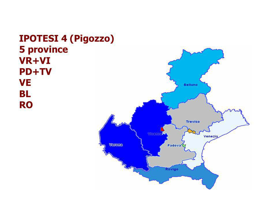 IPOTESI 4 (Pigozzo) 5 province VR+VI PD+TV VE BL RO