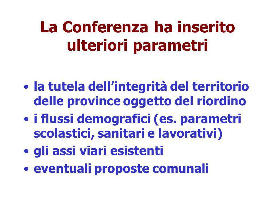 La Conferenza ha inserito ulteriori parametri la tutela dellintegrità del territorio delle province oggetto del riordino i flussi demografici (es.