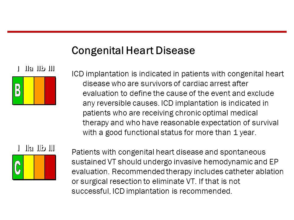 Congenital Heart Disease ICD implantation is indicated in patients with congenital heart disease who are survivors of cardiac arrest after evaluation