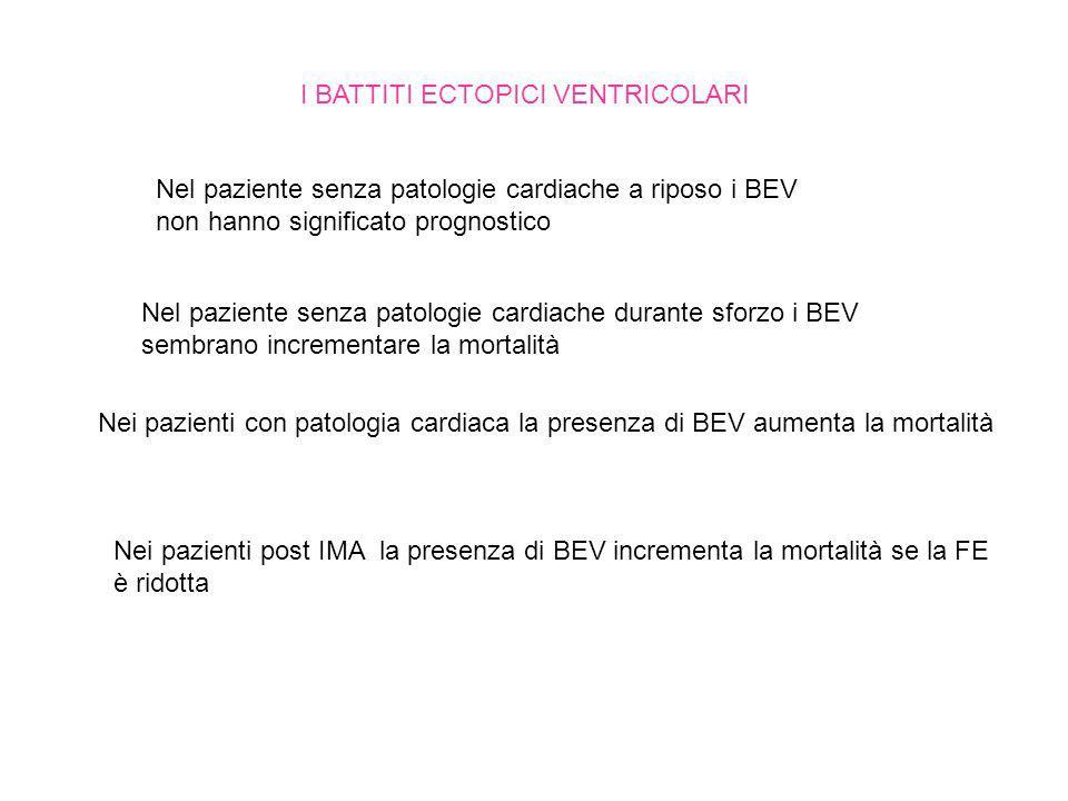 I BATTITI ECTOPICI VENTRICOLARI Nel paziente senza patologie cardiache a riposo i BEV non hanno significato prognostico Nel paziente senza patologie c