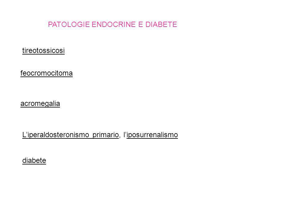 PATOLOGIE ENDOCRINE E DIABETE tireotossicosi feocromocitoma acromegalia Liperaldosteronismo primario, liposurrenalismo diabete