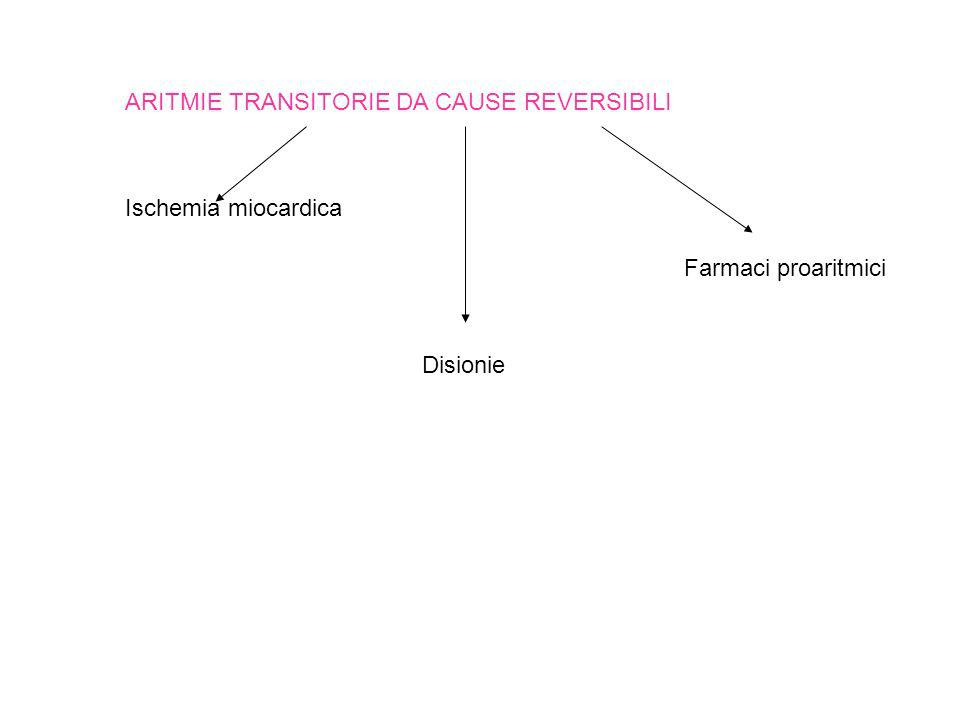 ARITMIE TRANSITORIE DA CAUSE REVERSIBILI Ischemia miocardica Disionie Farmaci proaritmici