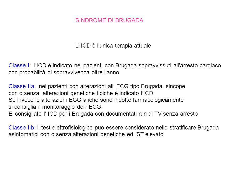 Classe I: lICD è indicato nei pazienti con Brugada sopravvissuti allarresto cardiaco con probabilità di sopravvivenza oltre lanno. Classe IIa: nei paz