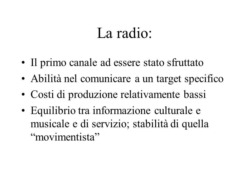 La radio: Il primo canale ad essere stato sfruttato Abilità nel comunicare a un target specifico Costi di produzione relativamente bassi Equilibrio tra informazione culturale e musicale e di servizio; stabilità di quella movimentista