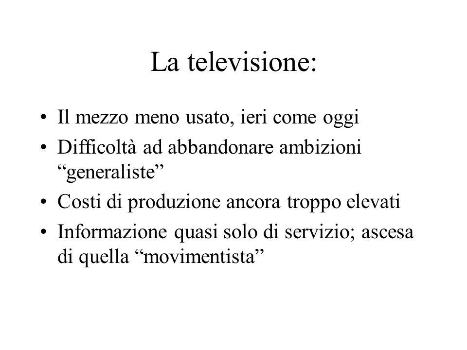 La televisione: Il mezzo meno usato, ieri come oggi Difficoltà ad abbandonare ambizioni generaliste Costi di produzione ancora troppo elevati Informaz