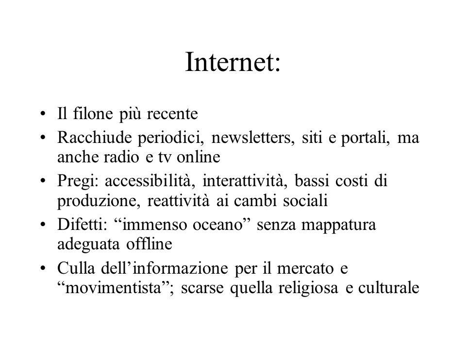 Internet: Il filone più recente Racchiude periodici, newsletters, siti e portali, ma anche radio e tv online Pregi: accessibilità, interattività, bass