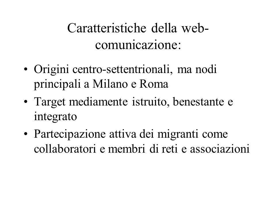Caratteristiche della web- comunicazione: Origini centro-settentrionali, ma nodi principali a Milano e Roma Target mediamente istruito, benestante e integrato Partecipazione attiva dei migranti come collaboratori e membri di reti e associazioni