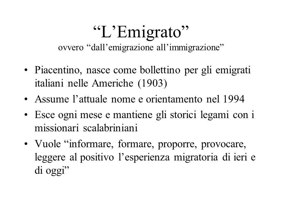 LEmigrato ovvero dallemigrazione allimmigrazione Piacentino, nasce come bollettino per gli emigrati italiani nelle Americhe (1903) Assume lattuale nom