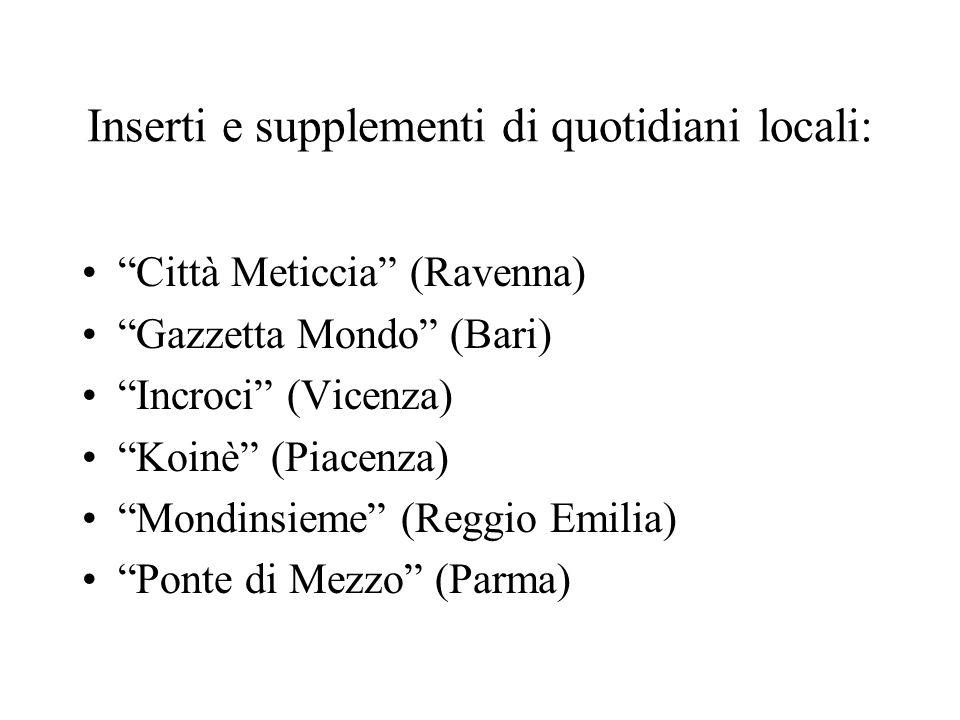 Inserti e supplementi di quotidiani locali: Città Meticcia (Ravenna) Gazzetta Mondo (Bari) Incroci (Vicenza) Koinè (Piacenza) Mondinsieme (Reggio Emilia) Ponte di Mezzo (Parma)