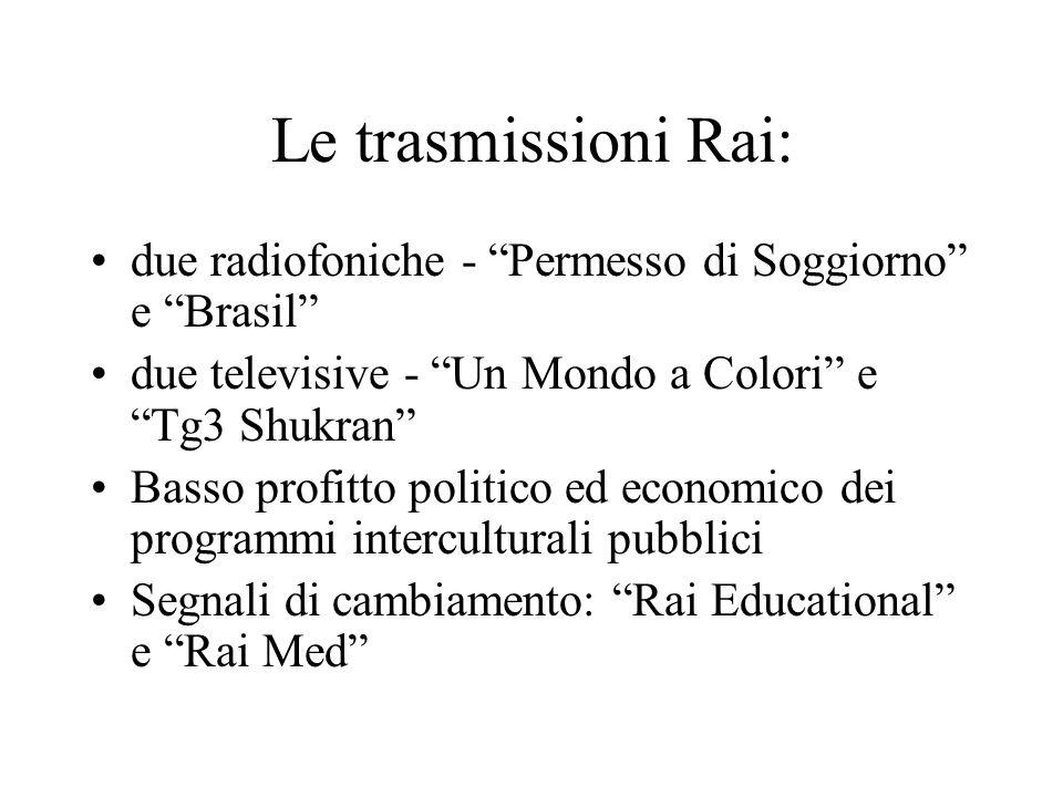 Le trasmissioni Rai: due radiofoniche - Permesso di Soggiorno e Brasil due televisive - Un Mondo a Colori e Tg3 Shukran Basso profitto politico ed eco