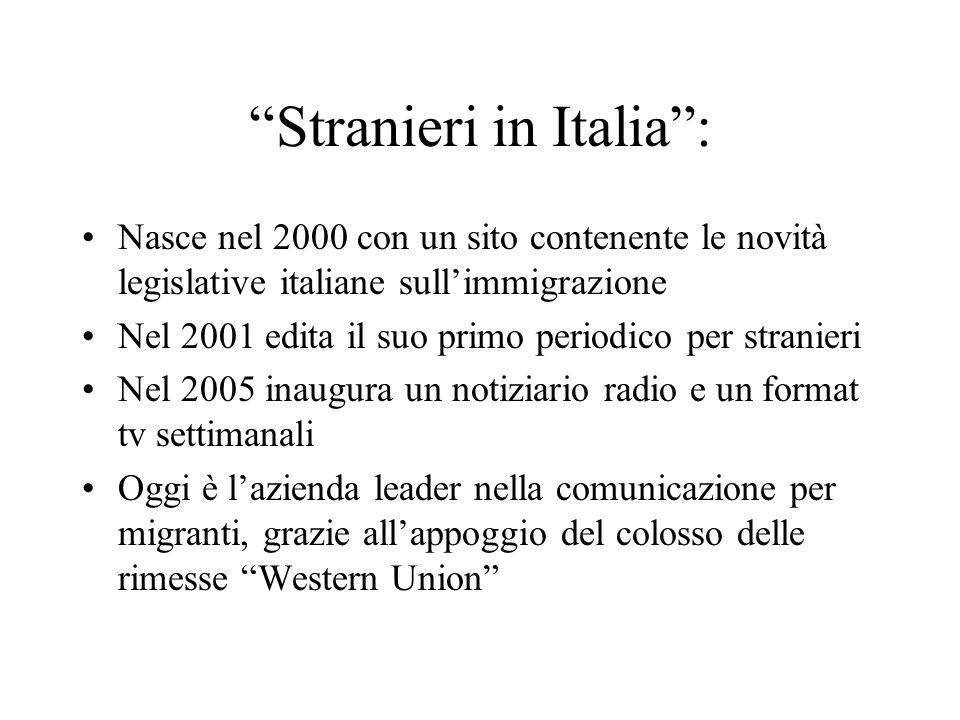 Stranieri in Italia: Nasce nel 2000 con un sito contenente le novità legislative italiane sullimmigrazione Nel 2001 edita il suo primo periodico per s