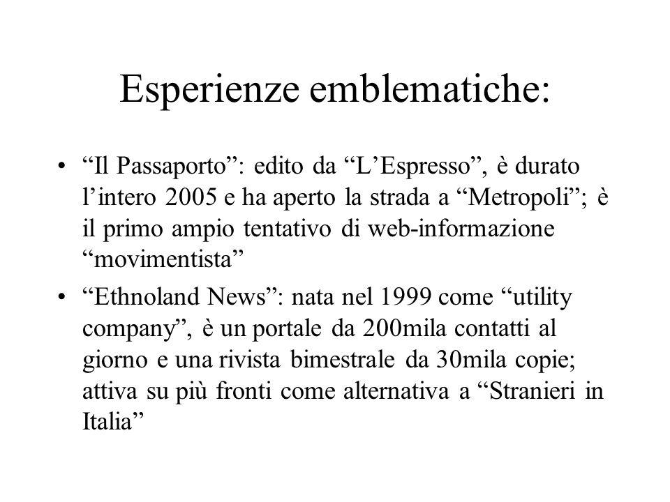 Esperienze emblematiche: Il Passaporto: edito da LEspresso, è durato lintero 2005 e ha aperto la strada a Metropoli; è il primo ampio tentativo di web