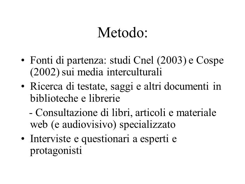 Metodo: Fonti di partenza: studi Cnel (2003) e Cospe (2002) sui media interculturali Ricerca di testate, saggi e altri documenti in biblioteche e libr