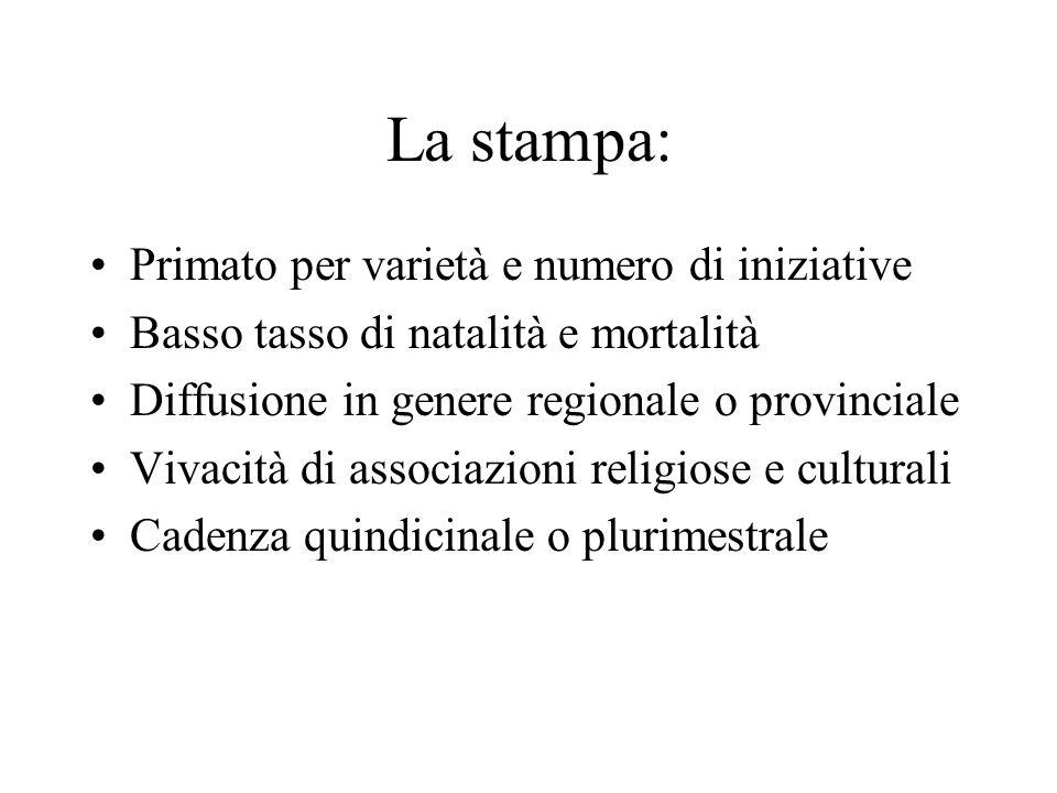 Gratuità di molte testate Prevalenza di informazione di servizio, ma forte ascesa di Stranieri in Italia e di altri gruppi orientati al marketing Consolidato filone di inserti e supplementi periodici su quotidiani locali