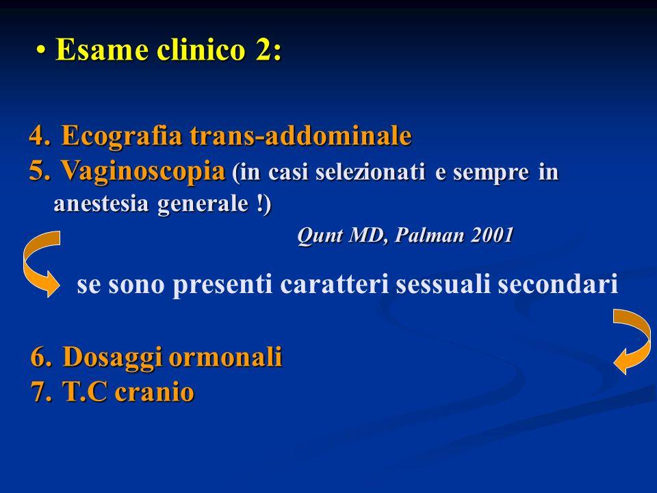 4. Ecografia trans-addominale 5. Vaginoscopia (in casi selezionati e sempre in anestesia generale !) Qunt MD, Palman 2001 Qunt MD, Palman 2001 Esame c