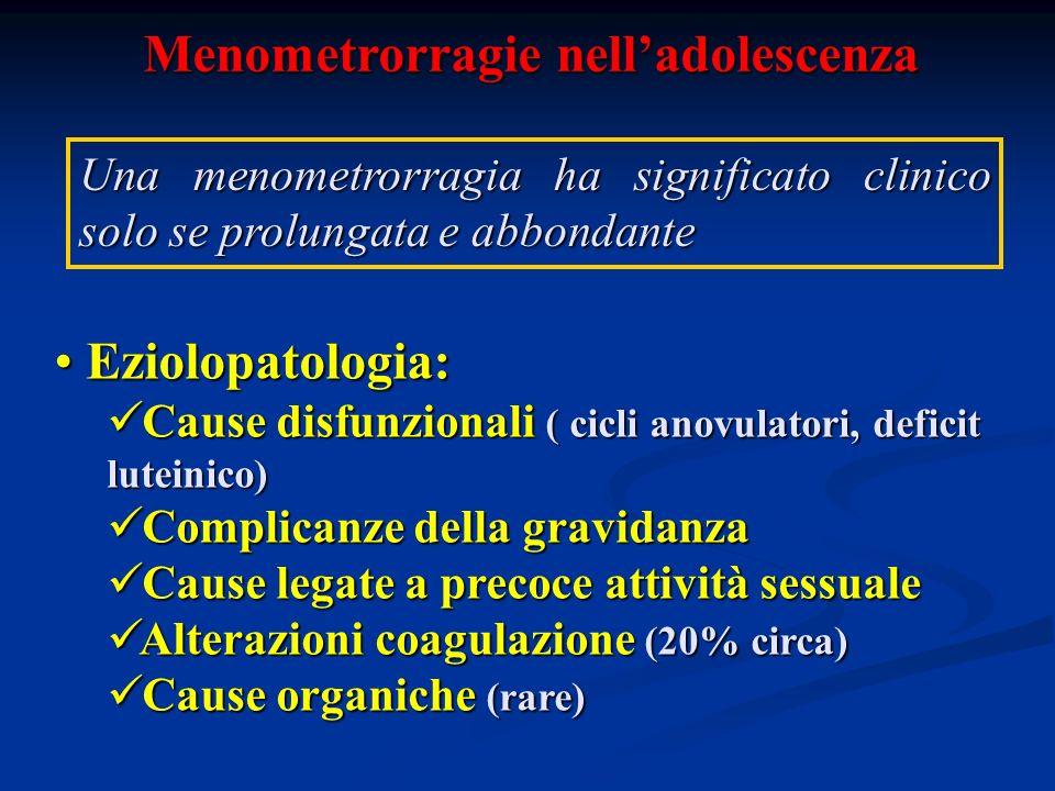 Menometrorragie nelladolescenza Una menometrorragia ha significato clinico solo se prolungata e abbondante Eziolopatologia: Eziolopatologia: Cause dis