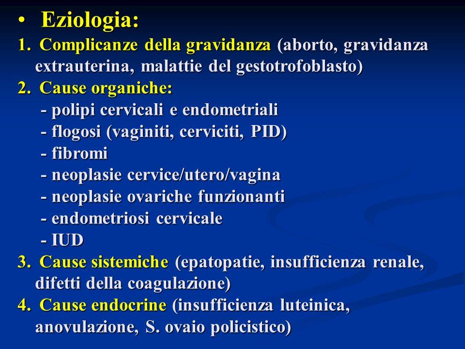 Eziologia: Eziologia: 1. Complicanze della gravidanza (aborto, gravidanza extrauterina, malattie del gestotrofoblasto) 2. Cause organiche: - polipi ce