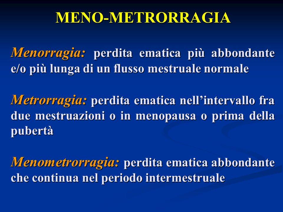MENO-METRORRAGIA Range di normalità ritmo: 21-35 giorni ritmo: 21-35 giorni quantità: 20-60 ml ( media 35 ml ) quantità: 20-60 ml ( media 35 ml ) durata: 2-7 giorni ( media 3-4 giorni ) durata: 2-7 giorni ( media 3-4 giorni ) Frequenza 15-20% della popolazione femminile