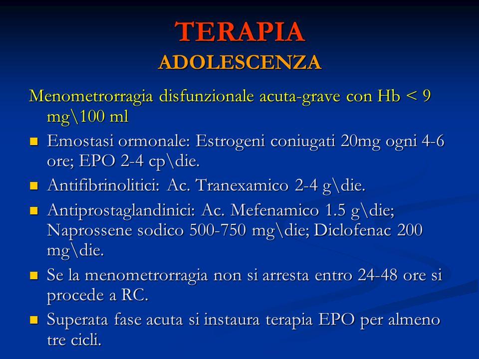 TERAPIA ADOLESCENZA Menometrorragia disfunzionale acuta-grave con Hb < 9 mg\100 ml Emostasi ormonale: Estrogeni coniugati 20mg ogni 4-6 ore; EPO 2-4 c