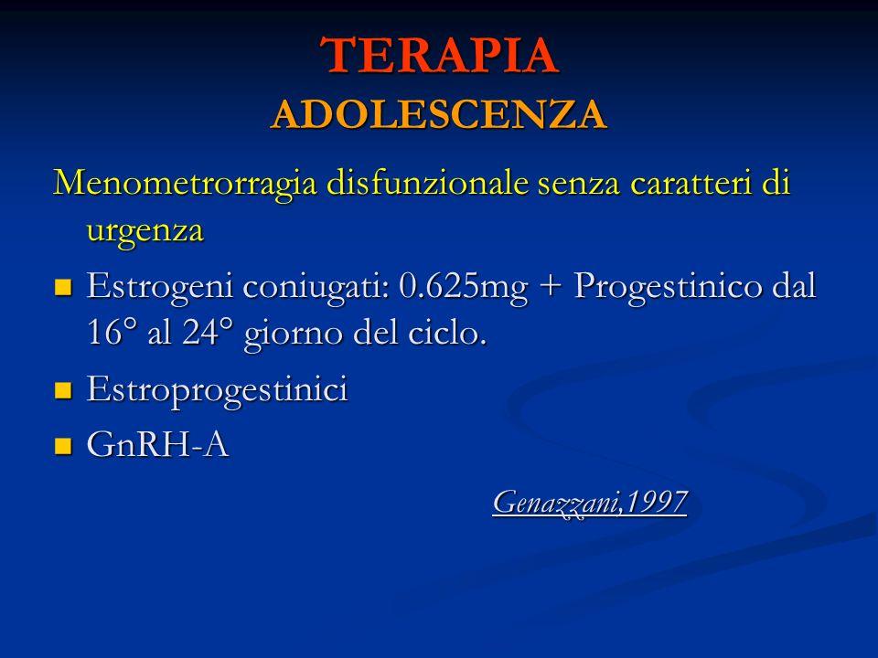 TERAPIA ADOLESCENZA Menometrorragia disfunzionale senza caratteri di urgenza Estrogeni coniugati: 0.625mg + Progestinico dal 16° al 24° giorno del cic