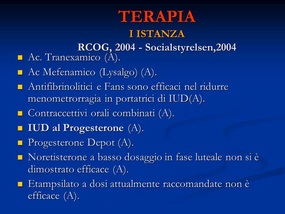 TERAPIA I ISTANZA RCOG, 2004 - Socialstyrelsen,2004 Ac. Tranexamico (A). Ac. Tranexamico (A). Ac Mefenamico (Lysalgo) (A). Ac Mefenamico (Lysalgo) (A)