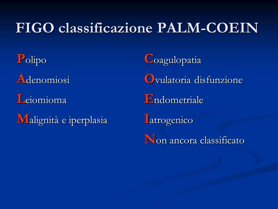 FIGO classificazione PALM-COEIN P olipo A denomiosi L eiomioma M alignità e iperplasia C oagulopatia O vulatoria disfunzione E ndometriale I atrogenic