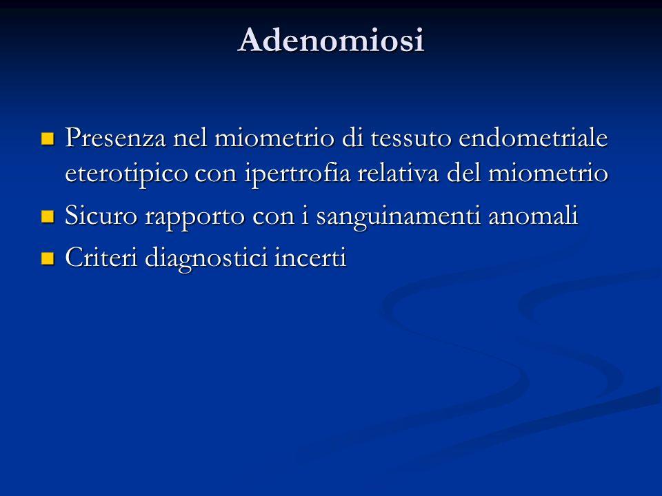 Adenomiosi Presenza nel miometrio di tessuto endometriale eterotipico con ipertrofia relativa del miometrio Presenza nel miometrio di tessuto endometr