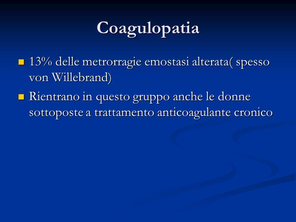 Coagulopatia 13% delle metrorragie emostasi alterata( spesso von Willebrand) 13% delle metrorragie emostasi alterata( spesso von Willebrand) Rientrano